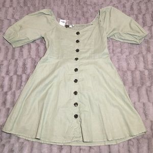 Charlotte Russe Full Button Puff Sleeve Dress